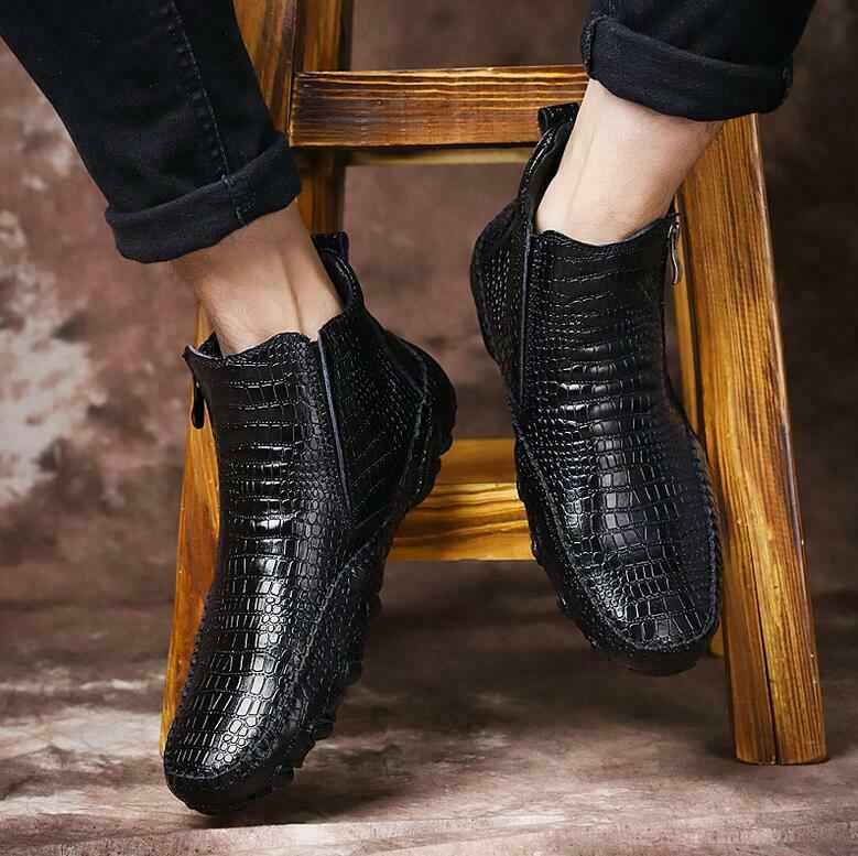 Alligator Mens Mens Mens Real Leather Dress Formal Pointed Toe Ankle stivali High Top scarpe e1b925