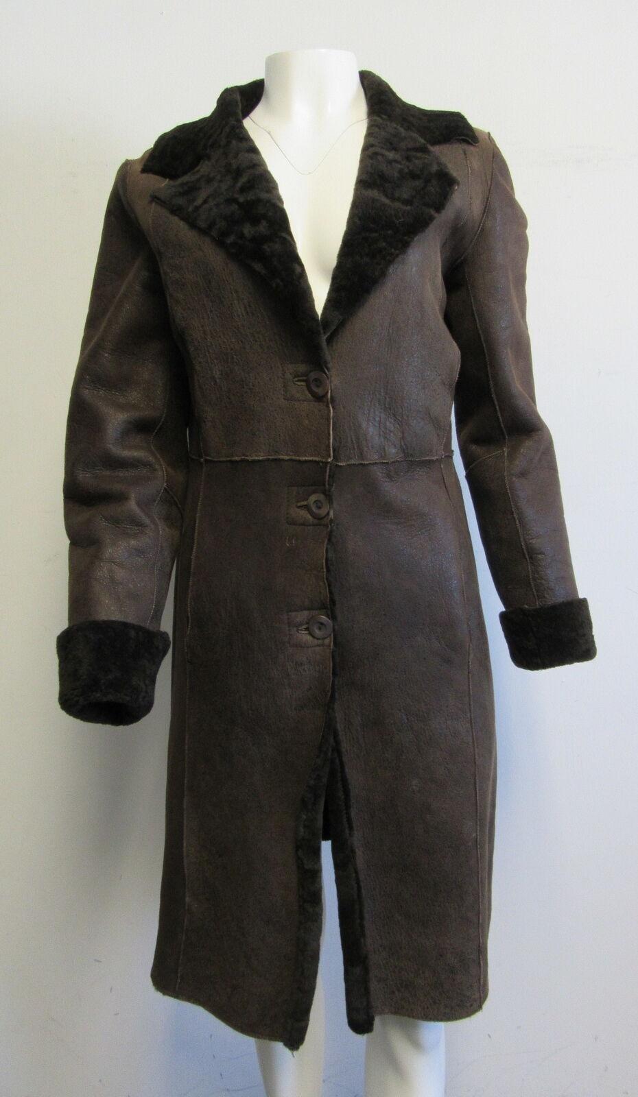 TINTORETTO brown lamb shearling 3- button coat sz I 40  US 6