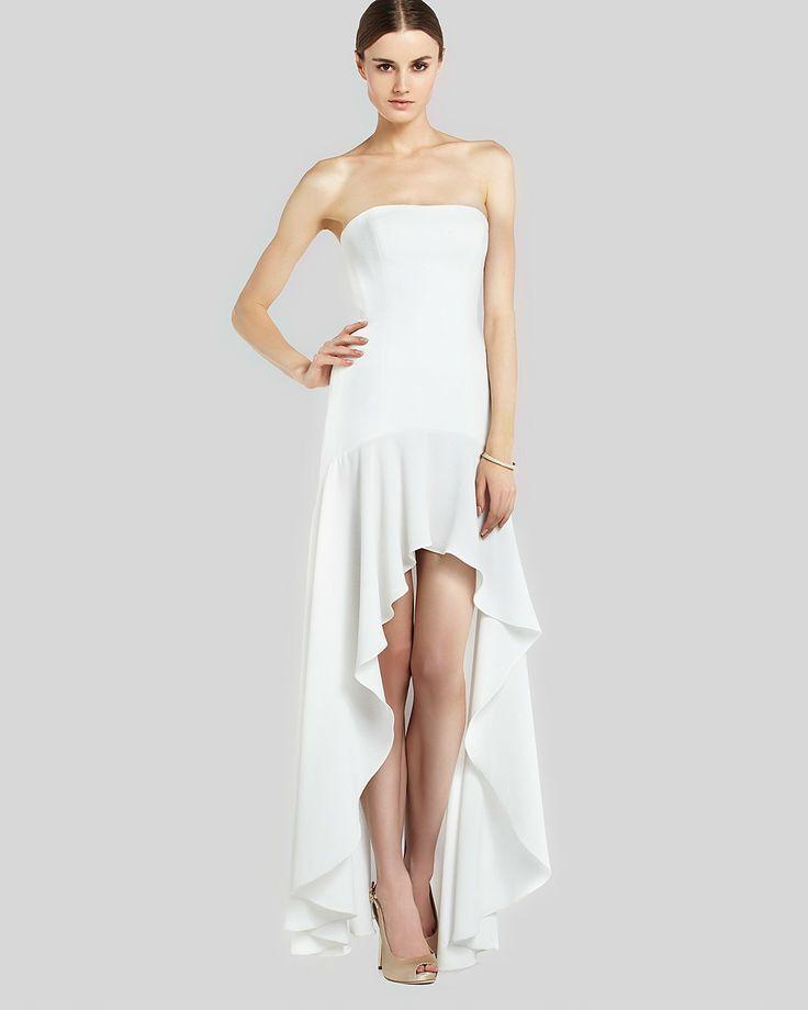 NEW BCBG MAXAZRIA DRESS LONG GOWN WHITE EVANGELINA 0 2 4 6 XS S M STRAPLESS