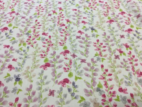 Fryetts Miranda Pink Floral Cotton Fabric for Curtain// Blinds//Upholstery//Crafts