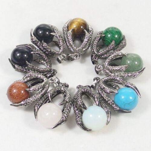 16mm Natural Gemstone Beads Charms Stone Dragon Claw Pendant Jasper Agate Opal