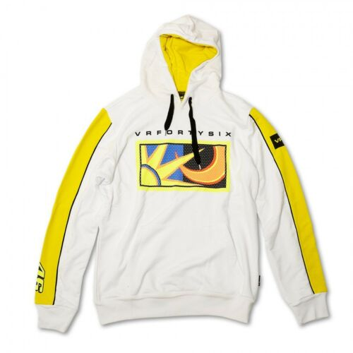 Official Valentino Rossi VR46 Sun And Moon White Hoodie Fleece VRMFL 51806