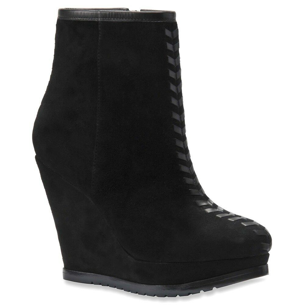 New Isola  modern style  Zurich wedge suede  boots black   women's size 9