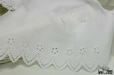 "14Yds Broderie Anglaise cotton eyelet lace trim 3.5""(9cm) white YH440 laceking"