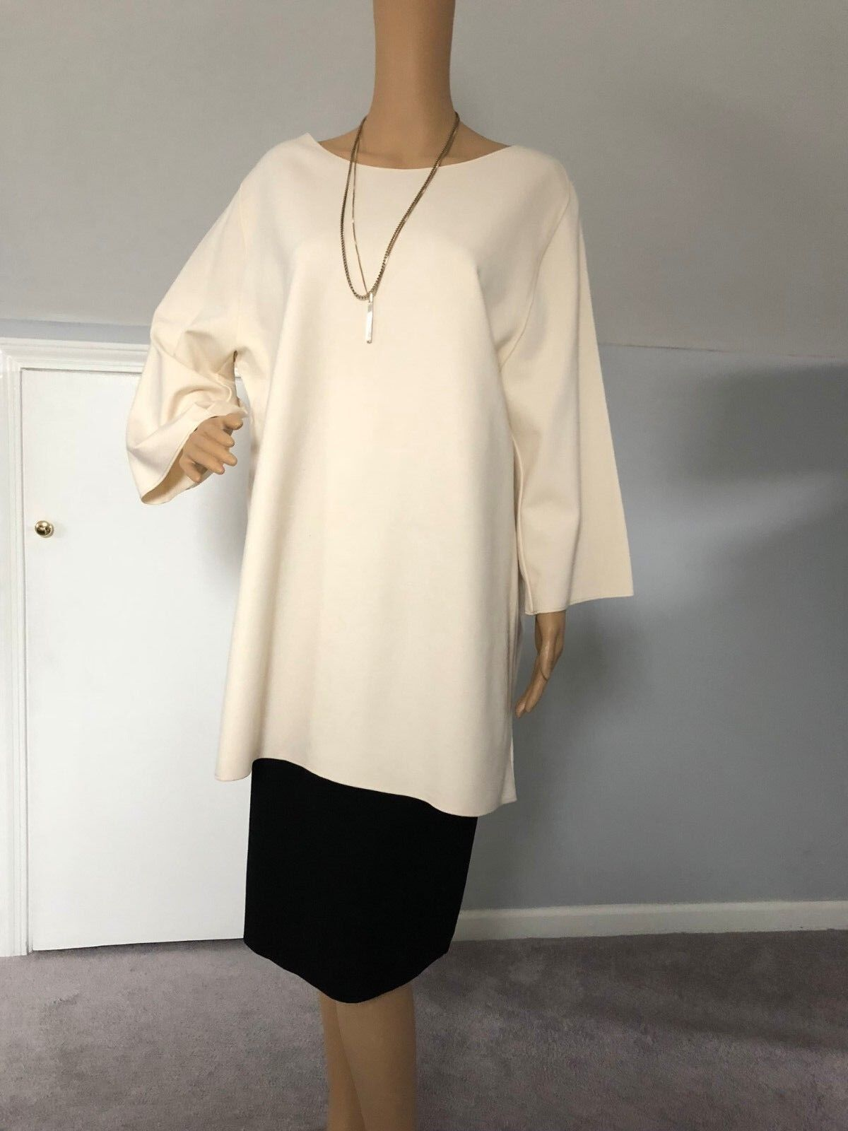NWOT WEAR IN GOOD HEALTH Eggnog Cream Exposed Seam Tunic Top Woherren sz 3XL
