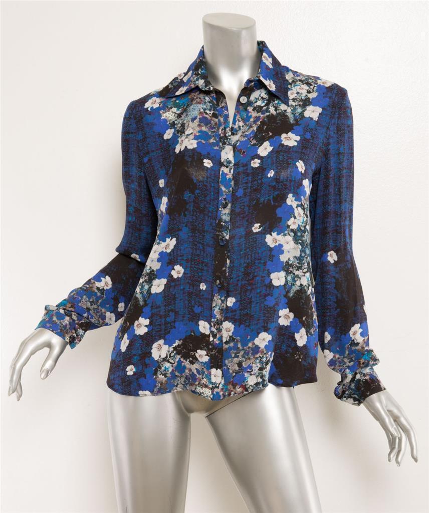 Erdem Damen Blau Blaumen Grafik Seide Knopfleisten Langärmlig Hemd BlauSE Top 4-8