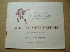 Arts Theatre Club Programme 1947- BACK TO METHUSELAH by Bernard Shaw