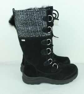 ce877f667b Image is loading UGG-Australia-ATLASON-FRILL-Black-Waterproof-Suede-Metallic -