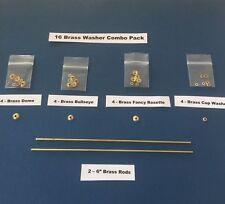 16 Brass Combo Pack collars/washers/pins to repair old straight razors Wade
