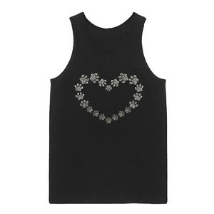 Paw Heart Rhinestone Women's Tank Top Plus Size Unisex Bling Handmade Cotton