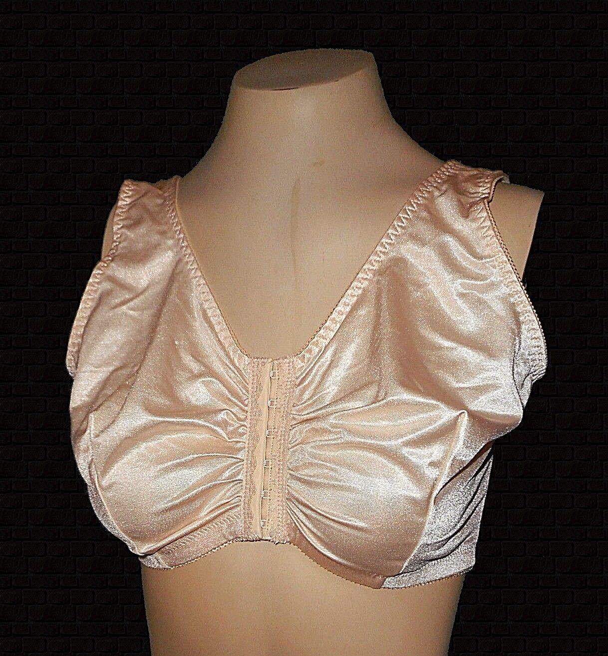 New Bra Glamorise, Front-Close Beige Wire-Free gathered Full-Figure 6397  42DD F