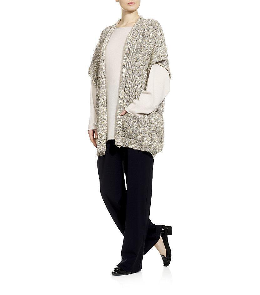 NWT Eskandar  1190 Rolling Front Long Tabard Tweed Cardigan Sweater Cocotweed