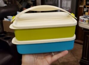 New TUPPERWARE Click-To-Go Rectangles SET OF 2 w/ HANDLE Lunch Dishes FREE SHIP