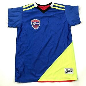VINTAGE Soccer Jersey Youth Size Small S Blue Green Red Shirt REVERSIBLE Tee Kid