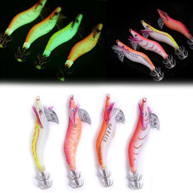 4 Pcs Glow Shrimp Prawn Baits Squid Fishing Lures Jigs Hook Bait Tackle 8cm New