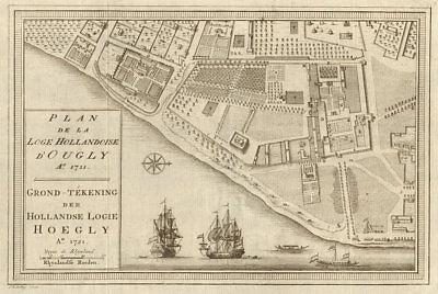 Liberal 'plan De La Loge Hollandoise D'ougly' Bellin/schley 1756 Map Hooghly-chinsurah