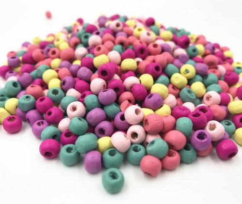200pcs Mixte Couleur Perles Rondes photocopies Collier À faire soi-même Kids Crafts Bois Perles 8 mm