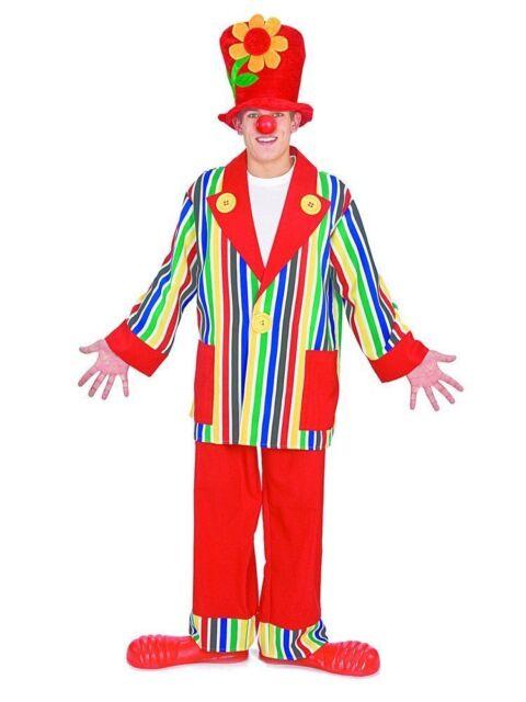 Mens Hooped Clown Costume Hoop Pants Hat Bow Tie Rainbow Plaid Adult Halloween