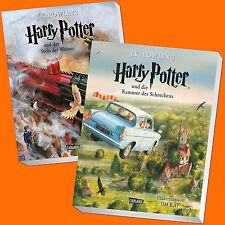 Set: Harry Potter Band 1 + 2 | vierfarbig illustrierte Schmuckausgabe (Buch)