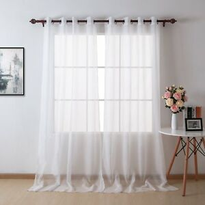 White Sheer Curtains Grommet Top Voile Drape Curtains For Living