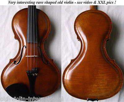 FINE OLD RARE SHAPED VIOLIN - see VIDEO - ANTIQUE MASTER バイオリン скрипка 小提琴 890