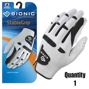 Bionic-Golf-Glove-StableGrip-Mens-Left-Hand-White-Leather-All-Sizes