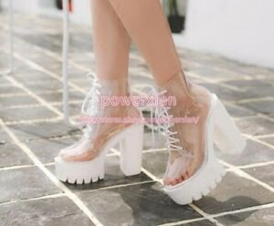 66291d0c4f2e Image is loading Womens-Transparent-Chunky-High-Heels-Clear-Ankle-Boots-