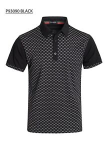 New-Mens-Short-Sleeve-Polo-Shirt-Slim-Fit-Stretch-Black-White-CD-Print-Cotton