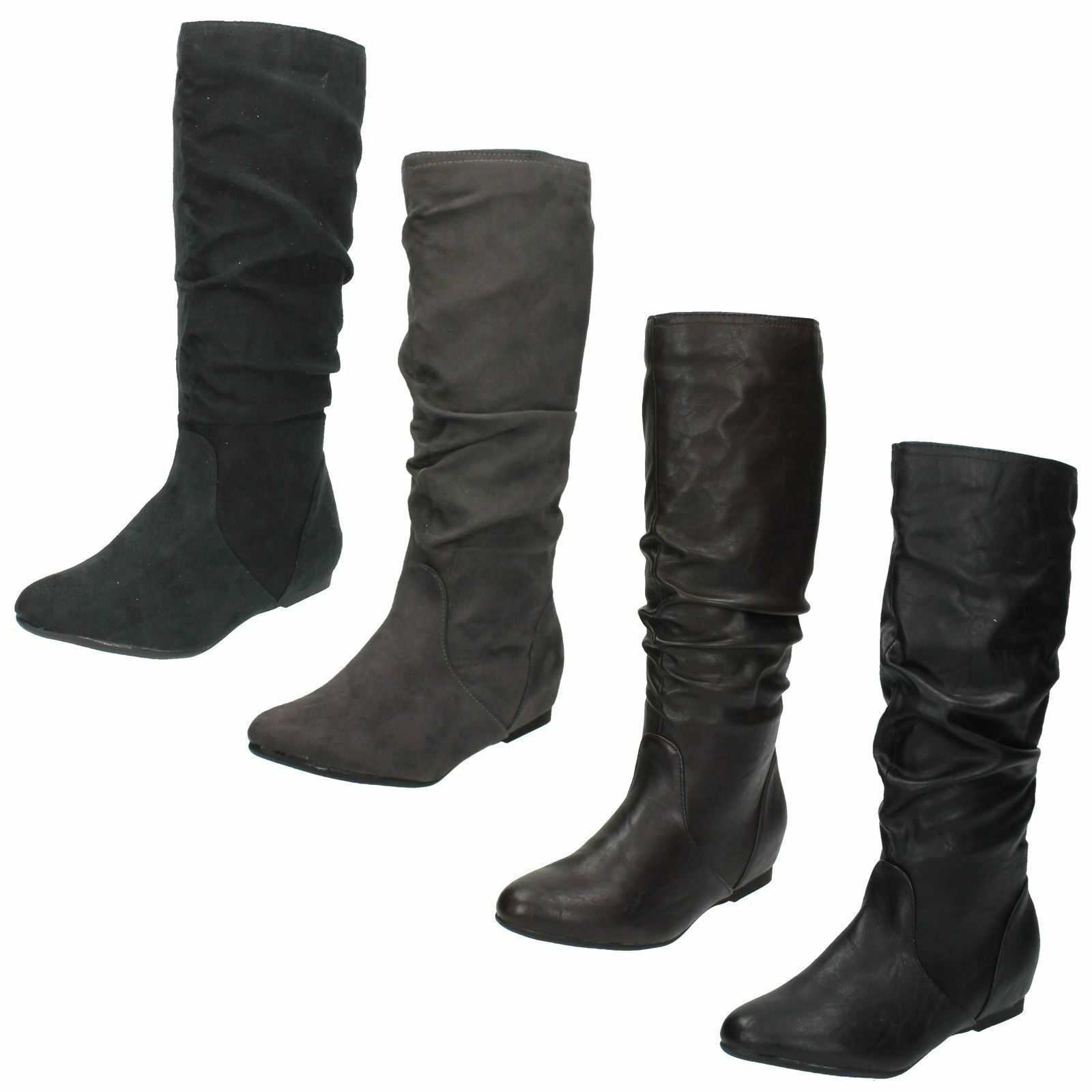 SALE LADIES COCO MID CALF ROUND TOE FLAT RUCHED DETAIL CASUAL BOOTS L9333 £9.99