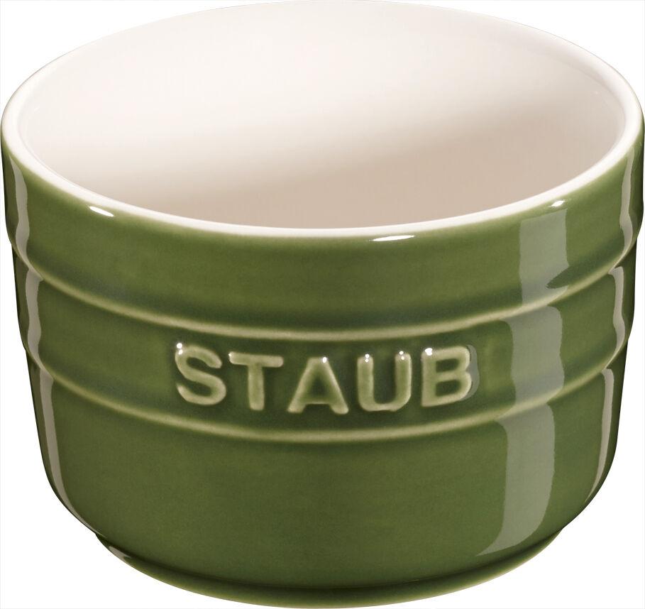 Staub Ceramic Set of 6 XS Mini Mold Ramekin Dessert Dish round Basil vert