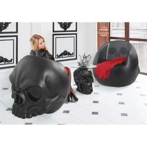 Image Is Loading Single Matte Black Skull Gothic Furniture Art Oversized