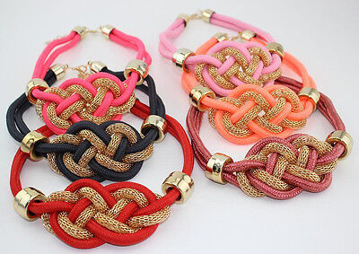 New beautiful handmade cotton rope weaving Chinese knot necklace punk Necklace