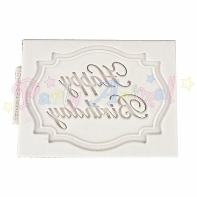 Katy Sue Designs Mini Plaque Mould - Happy Birthday - Quality Silicone Free P&P