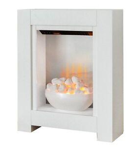 Small Electric Fire White Bowl Fireplace Pebbles Modern Surround Flat Wall Fix Ebay