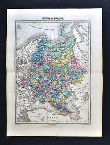 1877-Migeon-Map-Russia-in-Europe-St-Petersburg-Moscow-Finland-Poland-Latvia