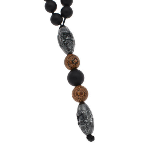 New Design Men Black Hematite Carving Bead Pendant Necklace Fashion Jewelry 1pc