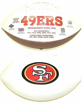 San Francisco 49ers White Panel Rawlings Jarden Sports Fotoball NFL Football