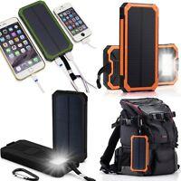 50000mAh Wasserdicht Solar Power Bank Dual USB Akku Mobile mit LED Taschenlampe