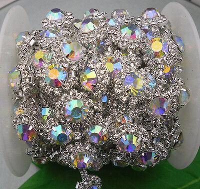 Costume applique flower 10mm glass rhinestone close silver chain claw trim 1Yard