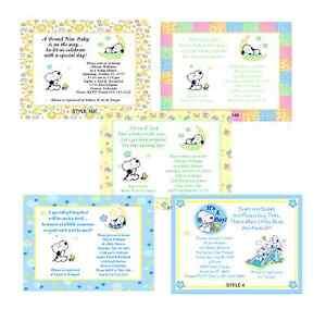 Baby snoopy cute baby shower invitations ebay image is loading baby snoopy cute baby shower invitations filmwisefo