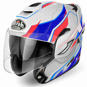 Airoh-Rev-Giro-Modulare-Rosso-Blu-Bianco-Casco-da-Moto-Motocicletta