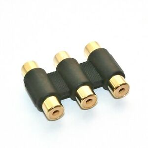 3-fach-Cinch-Verbinder-gold-Adapter-3x-Buchse-Kupplung-YUV-Audio-Composite-Video
