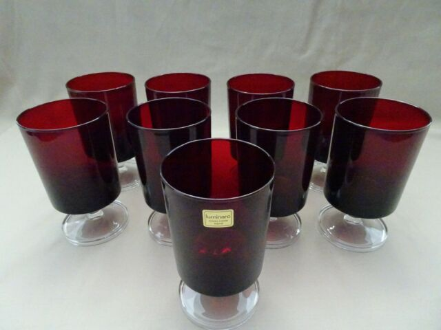 """ARCOROC LUMINARC FRANCE CAVALIER RUBY WATER GLASS GOBLET RED 5 1//8/"""""""