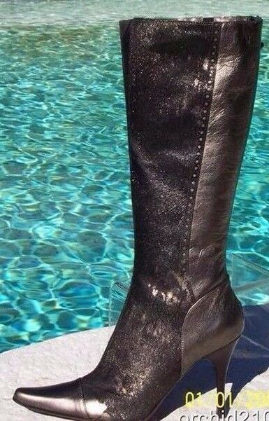 Donald Pliner Pewter Metallic Leather Hair Calf Calf Calf Boot shoes New Couture  595 NIB 61d094