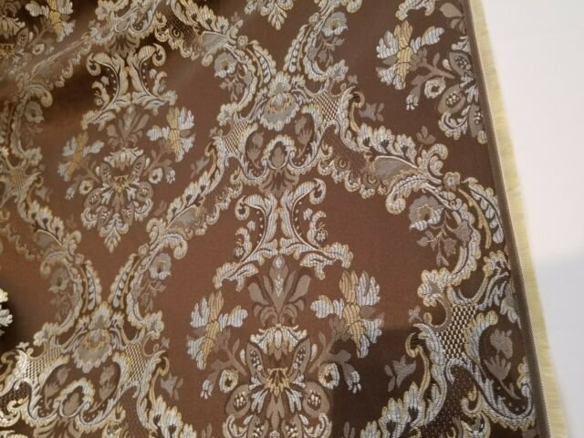 Designer Brocade Jacquard Fabric 54 wide, sold by yard, chocolate blue
