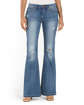 Greywire New York Flare Denim Jeans Distressed Murray Mid Vintage Petite NWT