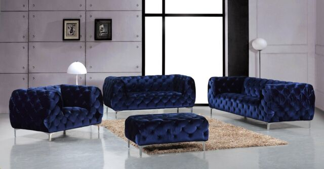Jamari Modern Navy Blue Full Button Tufted Velvet Living Room Sofa&Love  Seat Set