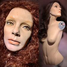 Vintage Mannequin Female Torso Distressed Bust Oddity Art Creepy Glass Eyes