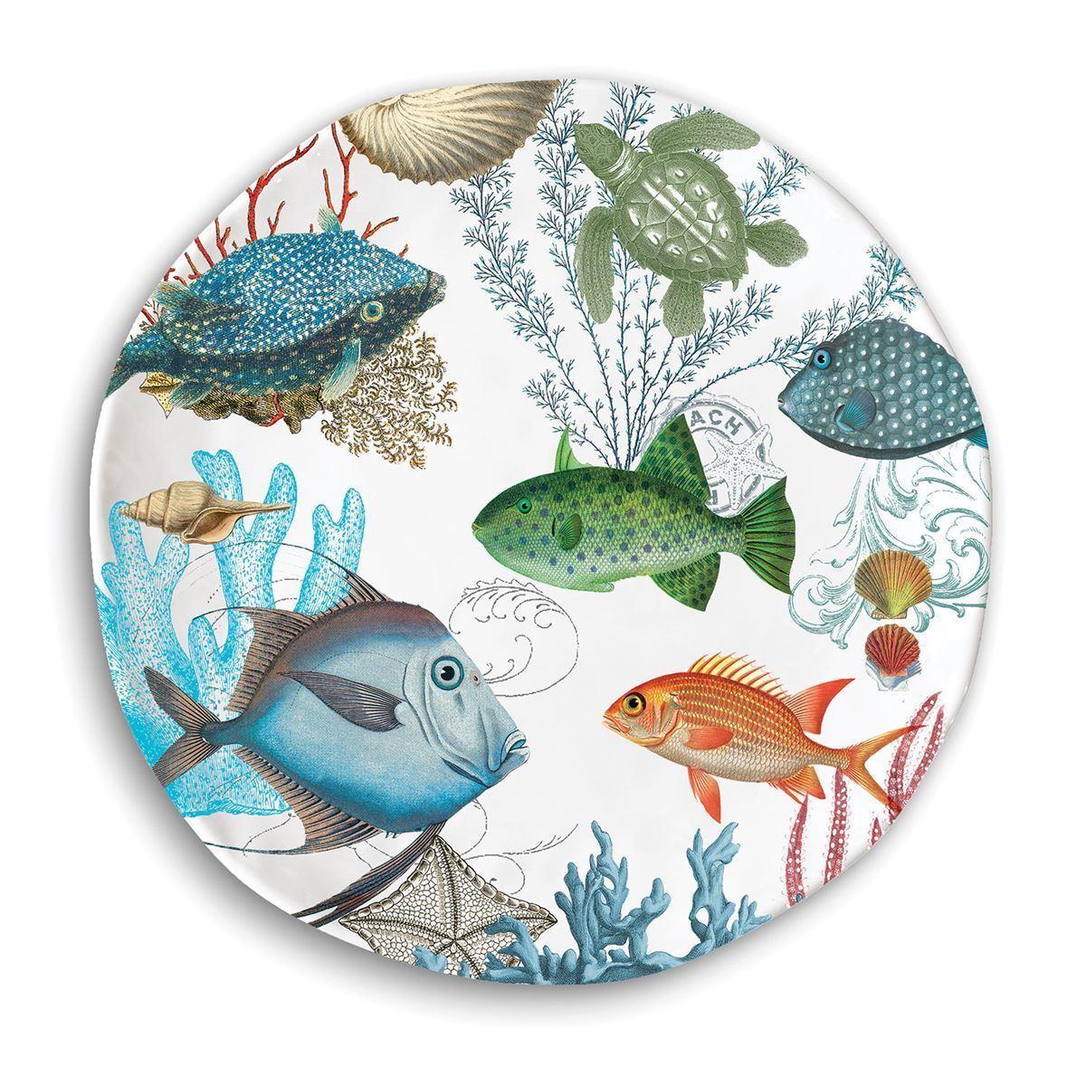 Set   4 Michel Design Works Melamine 11  Dinner Plates Sea Life Fish Turtle