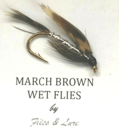 3,4 or 6 Trout Fly Fishing Wet Flies MARCH BROWN Choose Quantity /& hook